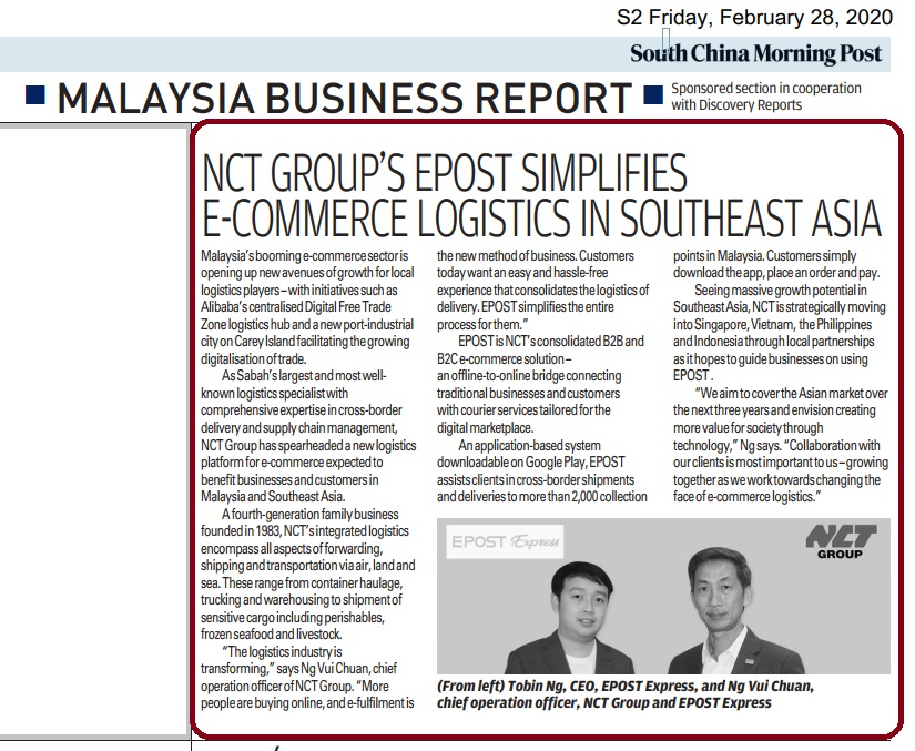 NCT GROUP'S EPOST SIMPLIFIES E-COMMERCE LOGISTICS IN SEA